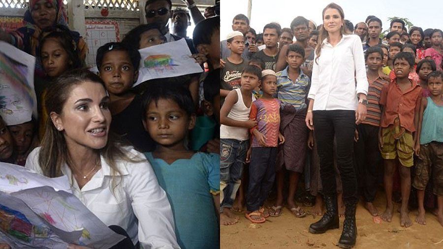 Jordan Queen Rania visits Rohingya refugee camps