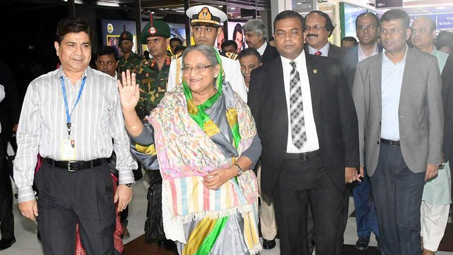 PM Hasina returns home
