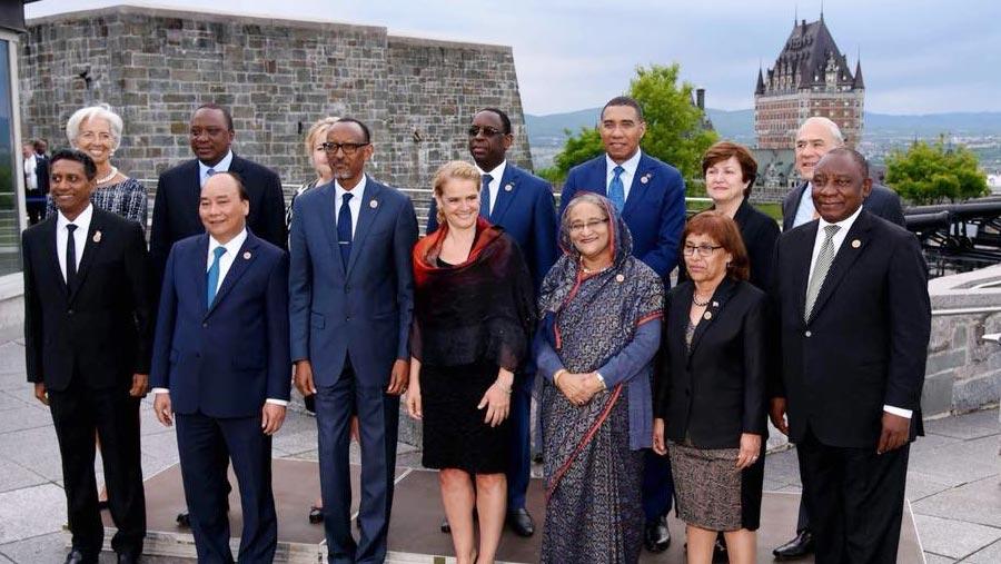 Bangladesh PM reaches Quebec