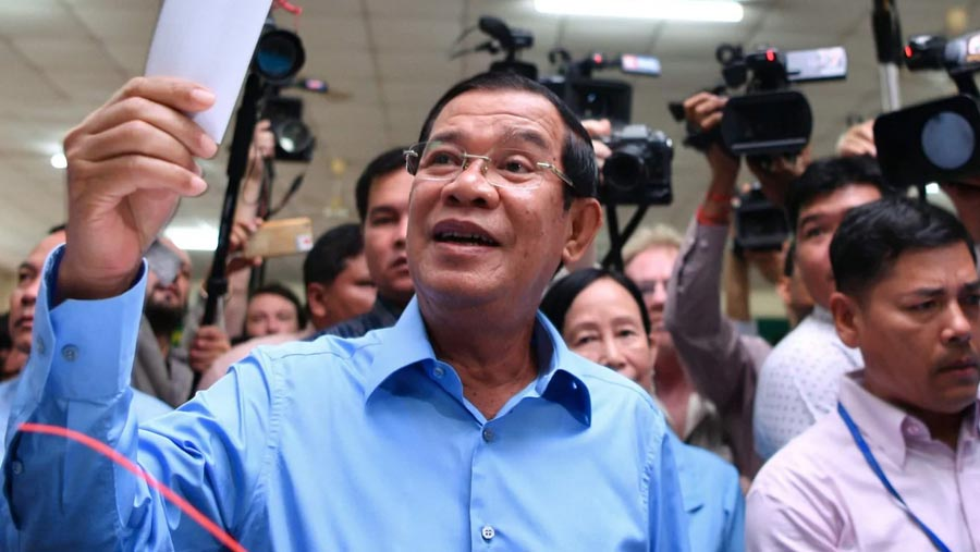 Cambodia ruling party claims landslide election win
