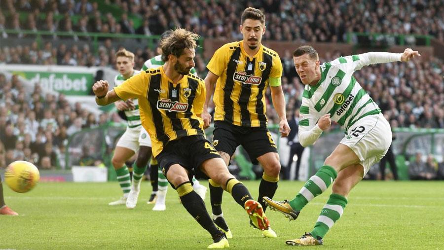 Celtic held by 10-man AEK Athens