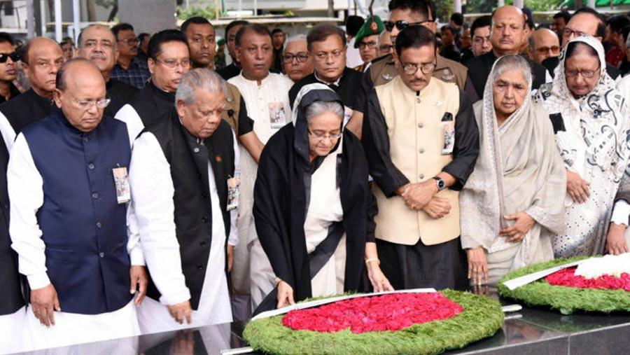 PM pays homage to Bangabandhu, four national leaders