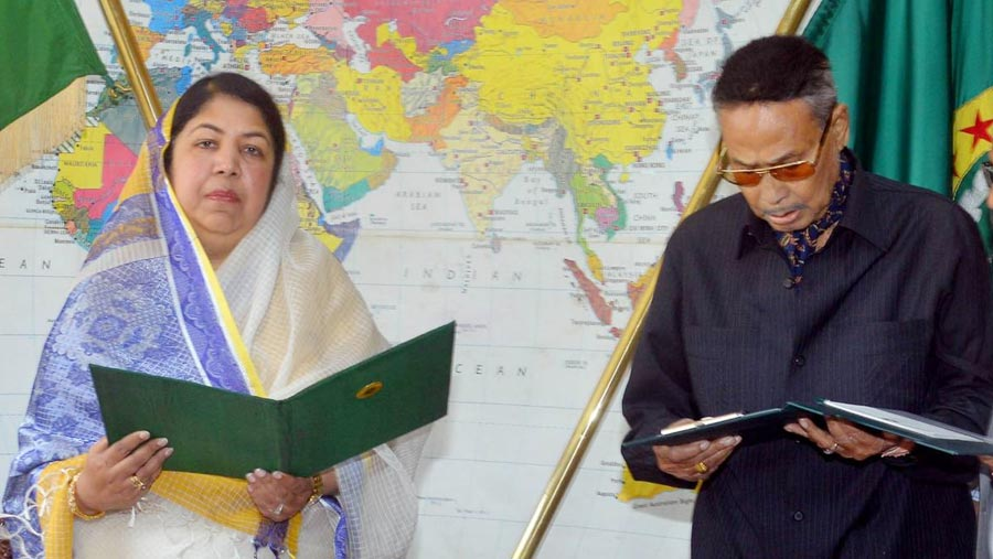 Ershad takes oath as opposition leader