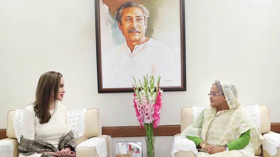 Jolie praises PM Hasina as example-setting leader