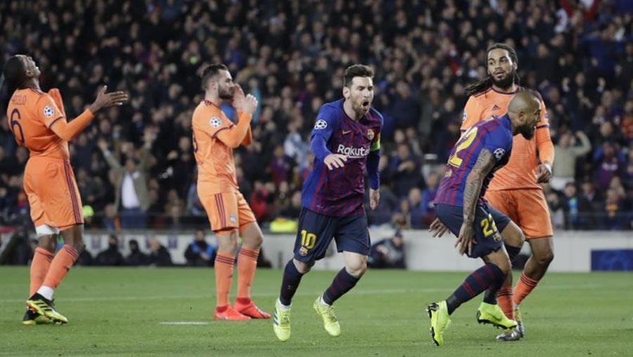 Messi helps Barca beat Lyon to reach quarters