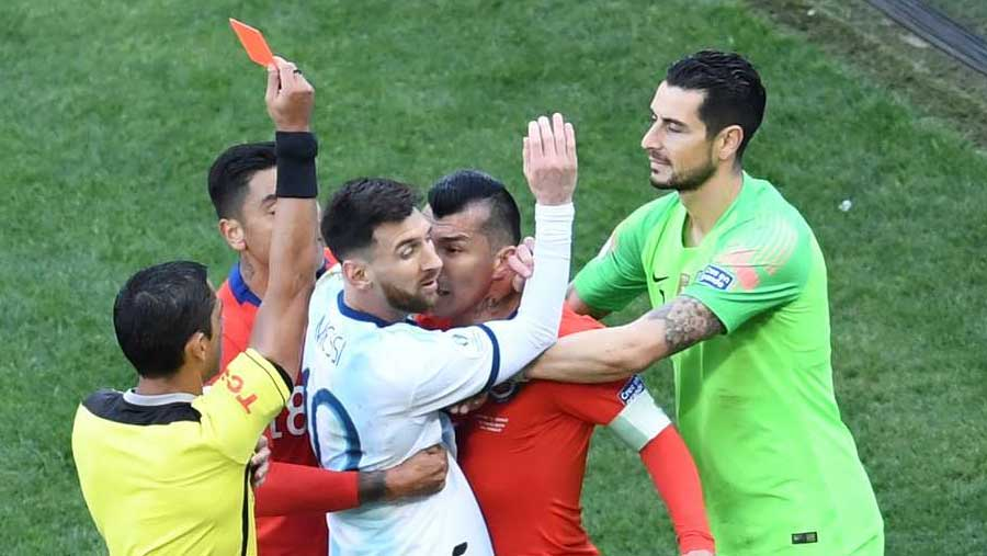 Messi sent off as Argentina beat Chile for Copa 3rd place