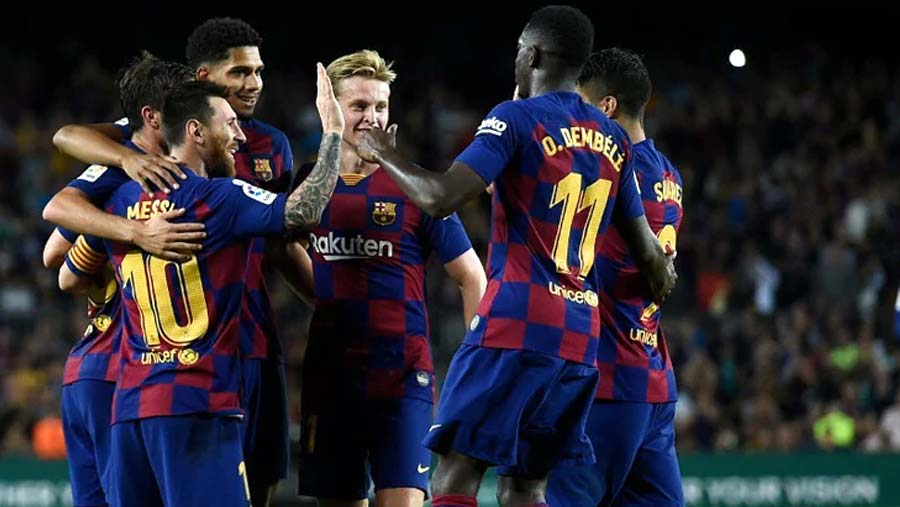 Messi nets first goal of season in Barca win