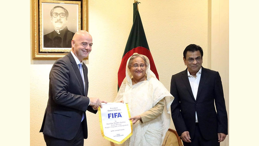 FIFA to continue support for promotion of BD's football, Infantino tells PM