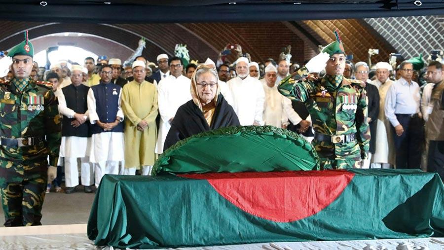 PM pays homage to Mayeen Uddin Khan Badal