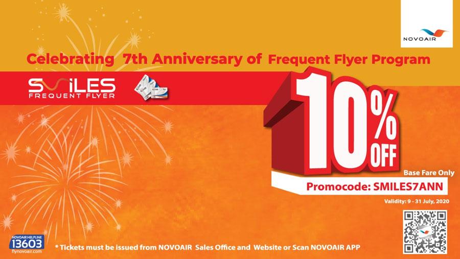NOVOAIR announced 10% discount on the ticket fare
