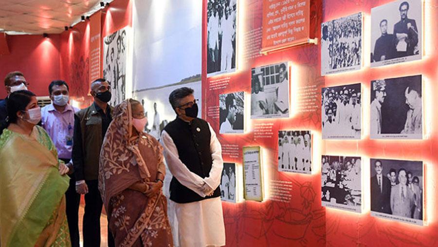 PM opens pavilion on Bangabandhu at Jatiyo Sangsad