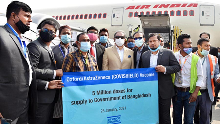 50 lakh Covid vaccines land in Dhaka