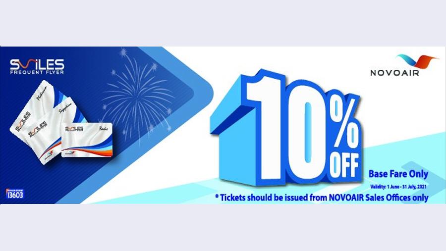 NOVOAIR announces 10% discount for SMILES member