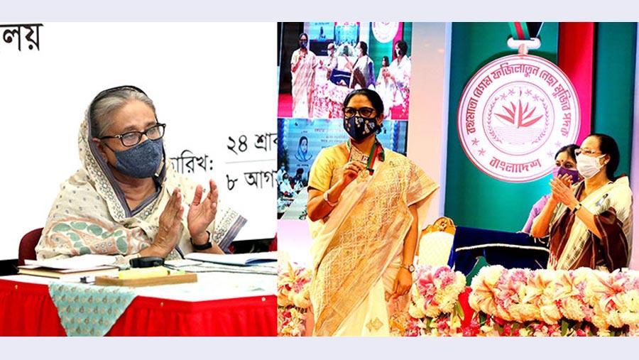 PM distributes Bangamata Begum Fazilatun Nesa Mujib Padak-2021